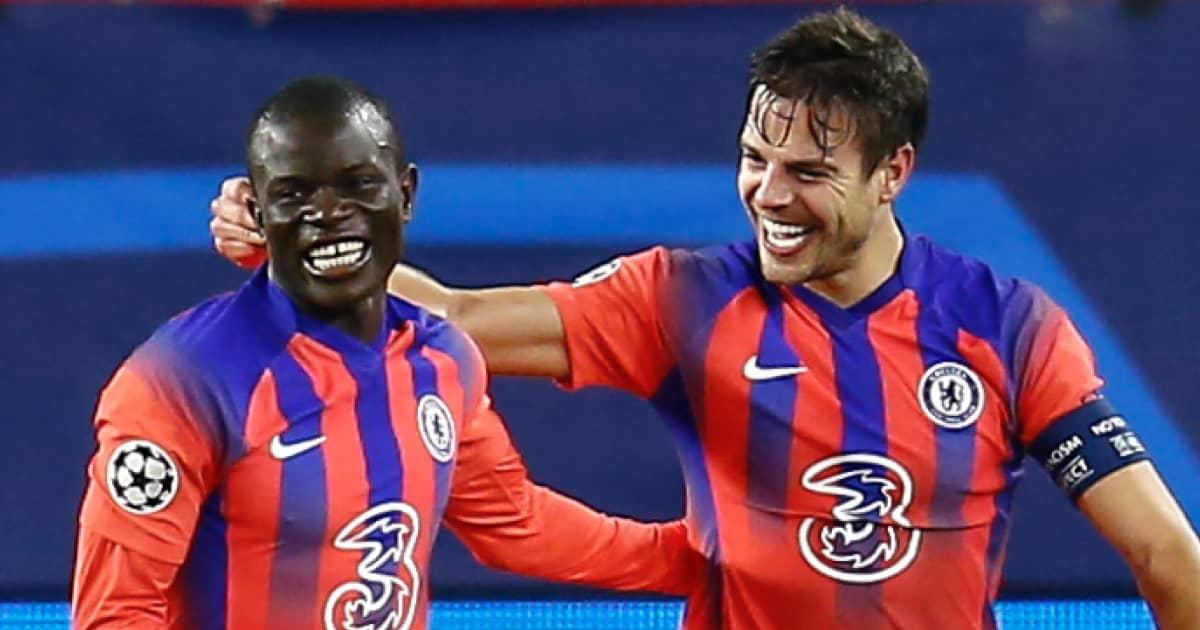 N'Golo Kante and Cesar Azpilicueta celebrating for Chelsea