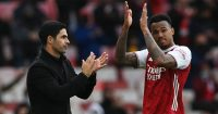 Mikel Arteta and Gabriel Magalhaes applauding Arsenal fans, May 2021
