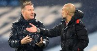 Villa and Man City managers Dean Smith and Pep Guardiola arguing