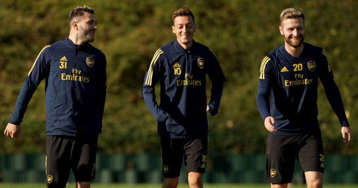 Sead Kolasinac, Mesut Ozil and Shkodran Mustafi in Arsenal training, 2019,