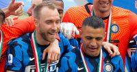 Christian Eriksen and Alexis Sanchez celebrating Inter Milan Serie A victory