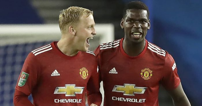 Donny Van de Beek celebrating with Paul Pogba at Man Utd, September 2020