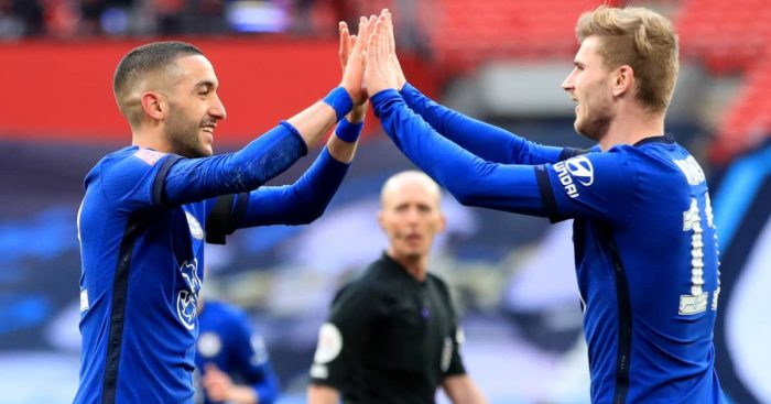 Hakim Ziyech celebrating with Chelsea teammate Timo Werner, FA Cup semi final v Man City, April 2021