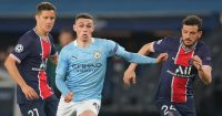 Ander Herrera and Alessandro Florenzi of PSG tussling with Phil Foden, Champions League, April 2021