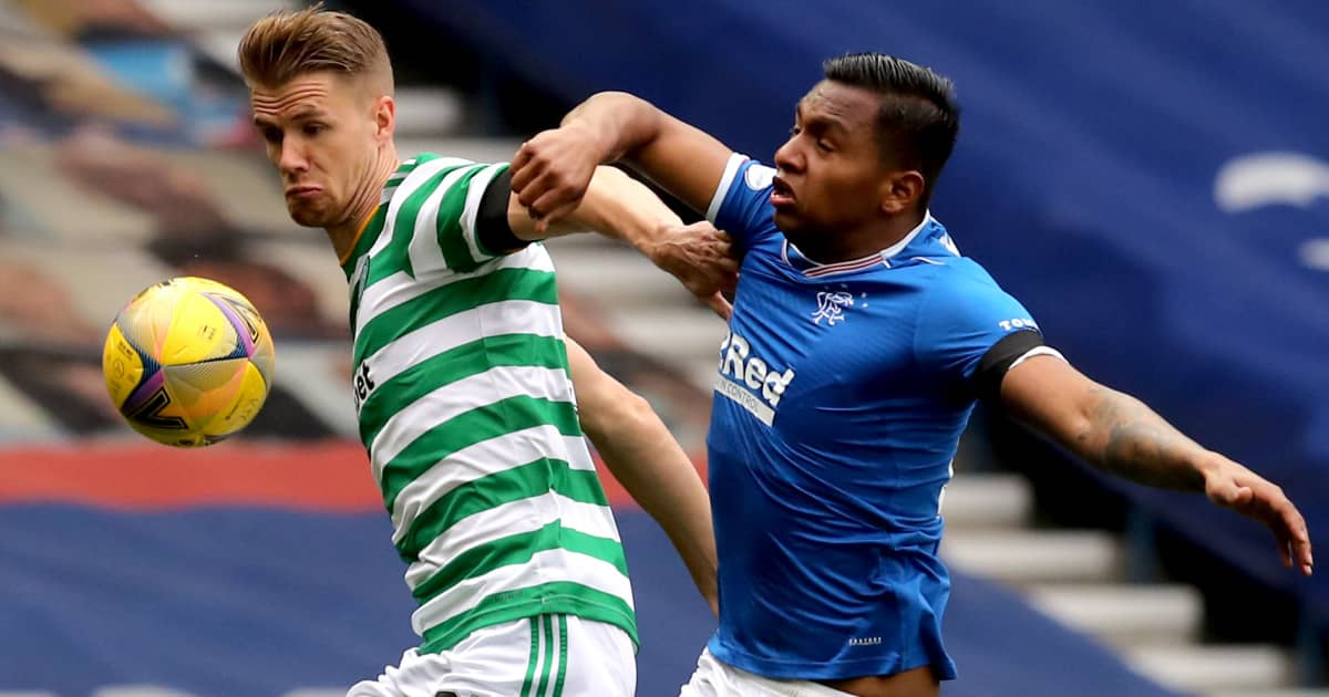 Kristoffer Ajer tussling with Alfredo Morelos, Celtic v Rangers, April 2021