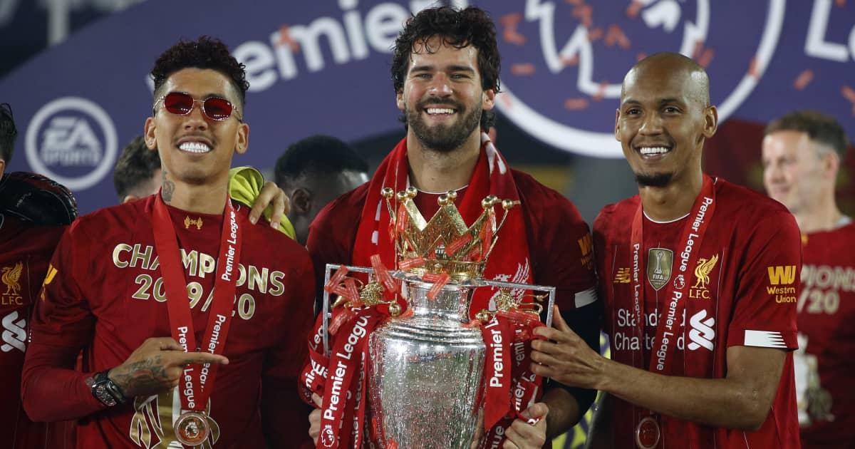 Brazil trio Roberto Firmino, Alisson Becker and Fabinho celebrating Liverpool's Premier League title win, 2020