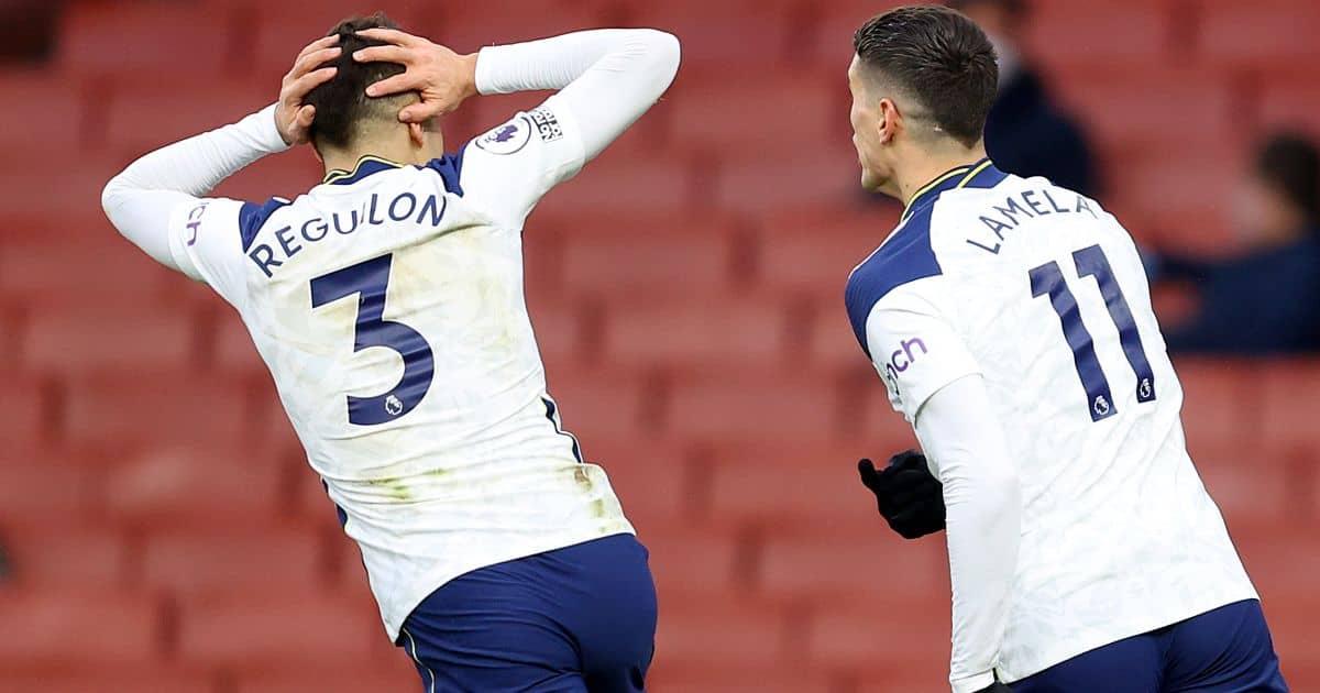 Sergio Reguilon; Erik Lamela Tottenham celeb Rabona TEAMtalk