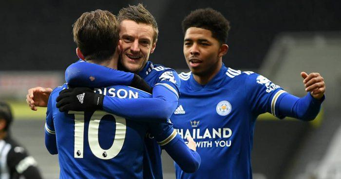 James Maddison, Jamie Vardy and Wesley Fofana, Leicester