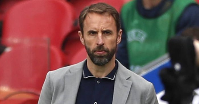 Gareth Southgate during England's victory over Romania, June 2021