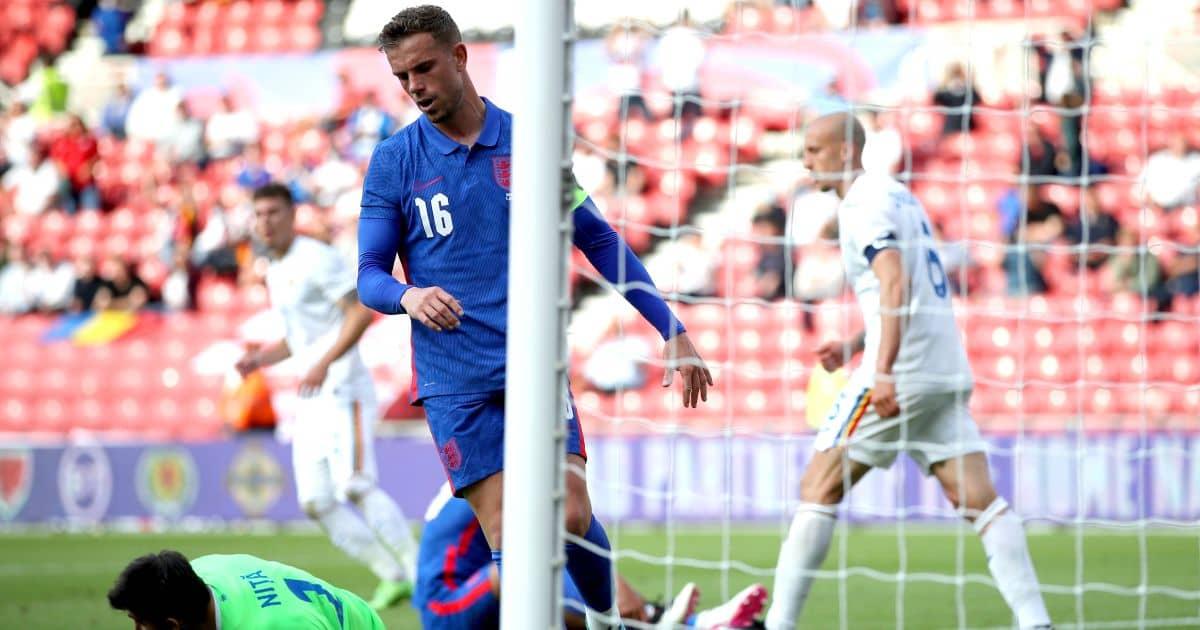 Jordan Henderson Liverpool, England v Romania June 2021