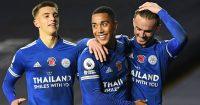 Luke Thomas, Youri Tielemand and James Maddison celebrating for Leicester