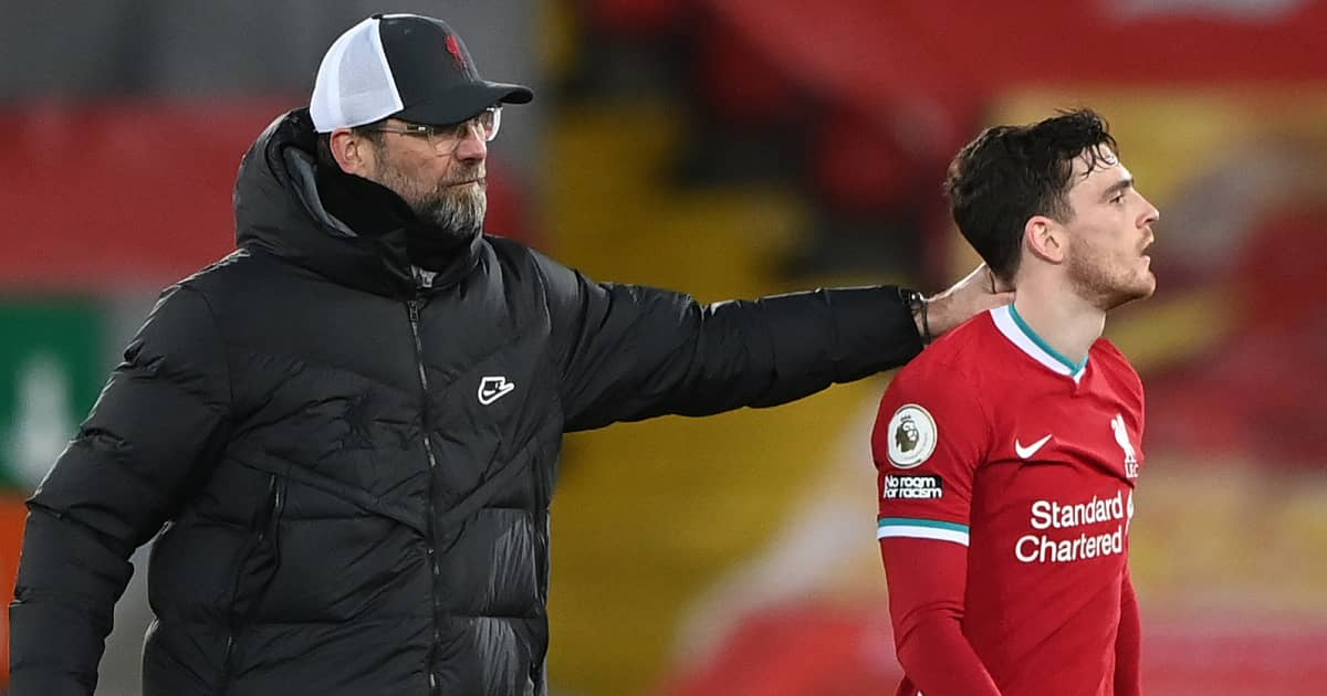 Jurgen Klopp and Andy Robertson, Liverpool, February 2021