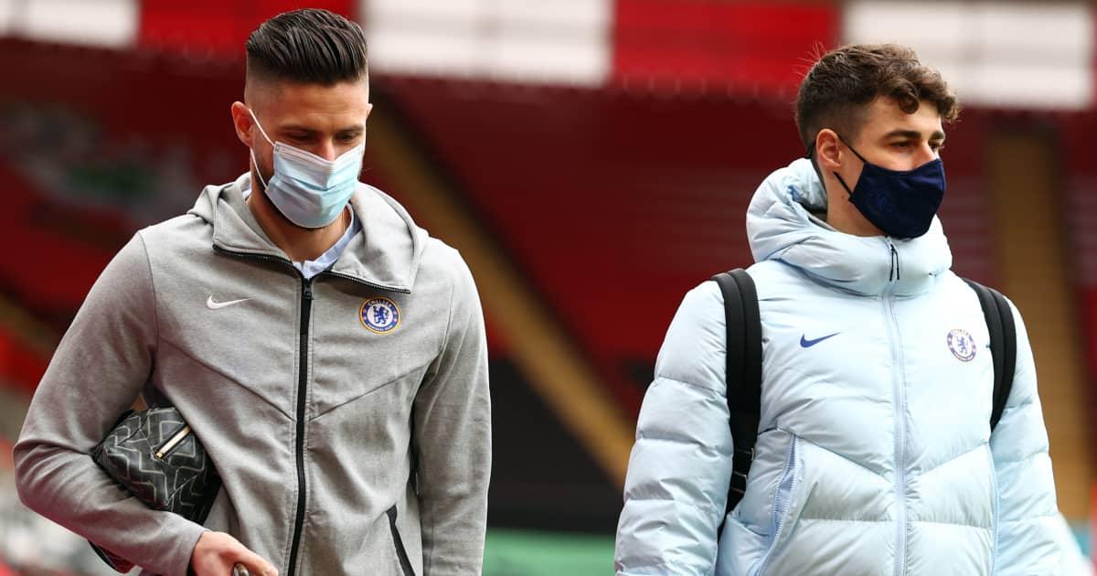 Olivier Giroud and Kepa Arrizabalaga, Chelsea, February 2021