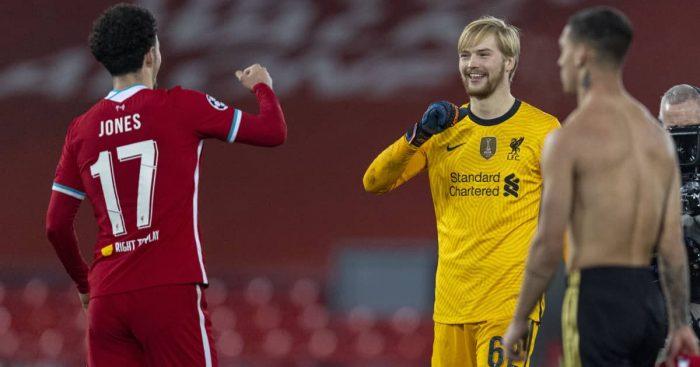 Curtis Jones and Caoimhín Kelleher, Liverpool, December 2020