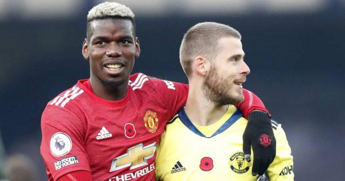 Paul Pogba and David de Gea, Man Utd, November 2021