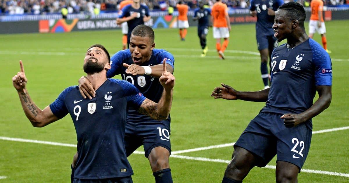 Olivier Giroud, Kylian Mbappe, Benjamin Mendy France v Netherlands September 2018
