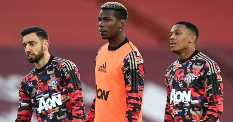 Bruno Fernandes, Paul Pogba and Anthony Martial, Man Utd, January 2021