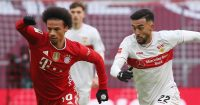 Leroy Sane tussling with Nicolas Gonzalez, Bayern Munich v Stuttgart, March 2021