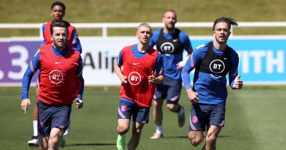 Jack Grealish, Phil Foden, Ben Chilwell England Euro 2020 June 2021