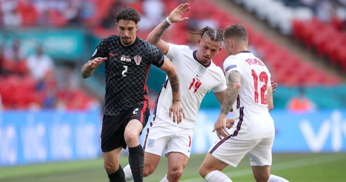 Kieran Trippier, Kalvin Phillips, Sime Vrsaljko England v Croatia Euro 2020 June 2021