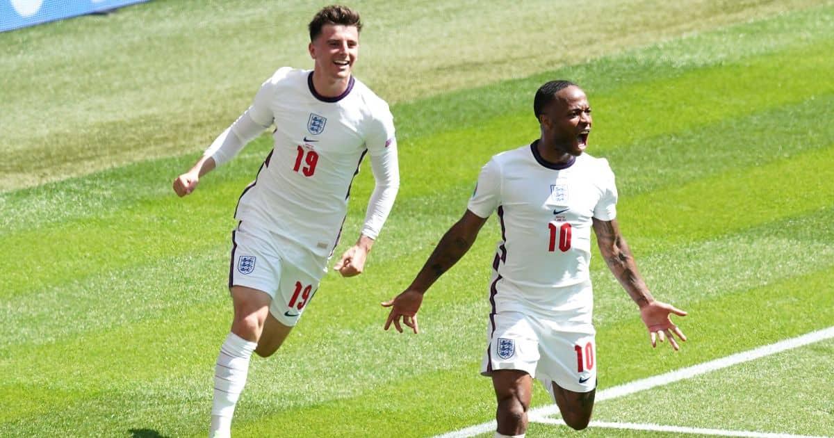 Raheem Sterling, Mason Mount celebrate England goal v Croatia Euro 2020