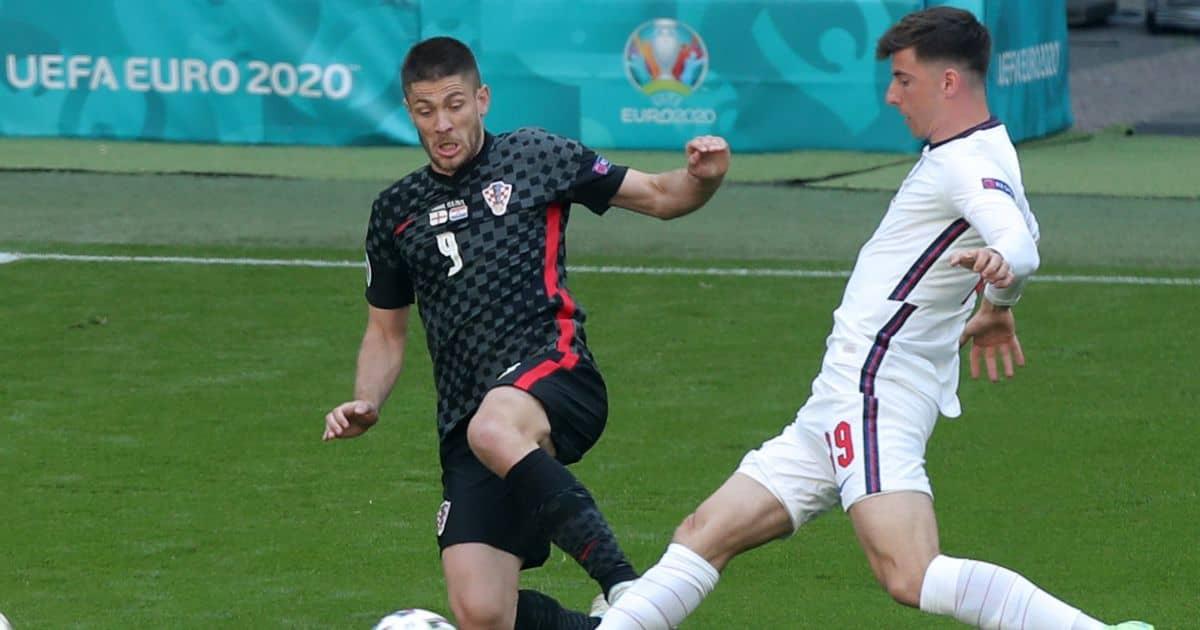 Mason Mount, Andrej Kramaric tussle England v Croatia Euro 2020