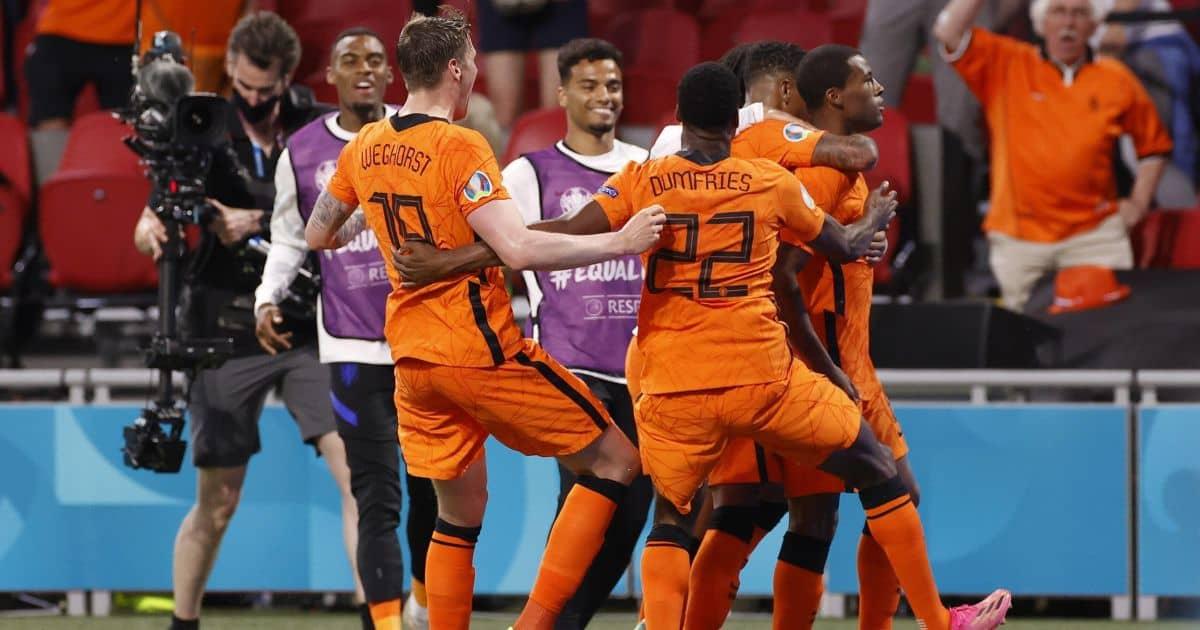 Wout Weghorst, Georginio Wijnaldum celebrate Netherlands v Ukraine Euro 2020