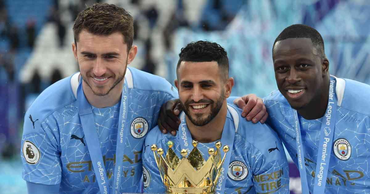 Aymeric Laporte, Riyad Mahrez, Benjamin Mendy. Man City TEAMtalk