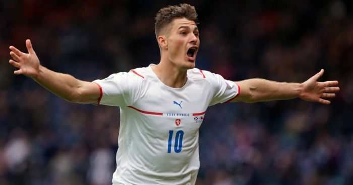 Patrik Schick celebrating for Czech Republic v Scotland, Euro 2020, June 2021