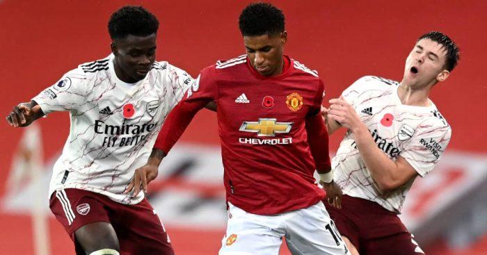 Bukayo Saka and Kieran Tierney tackling Marcus Rashford, Arsenal v Man Utd, November 2020