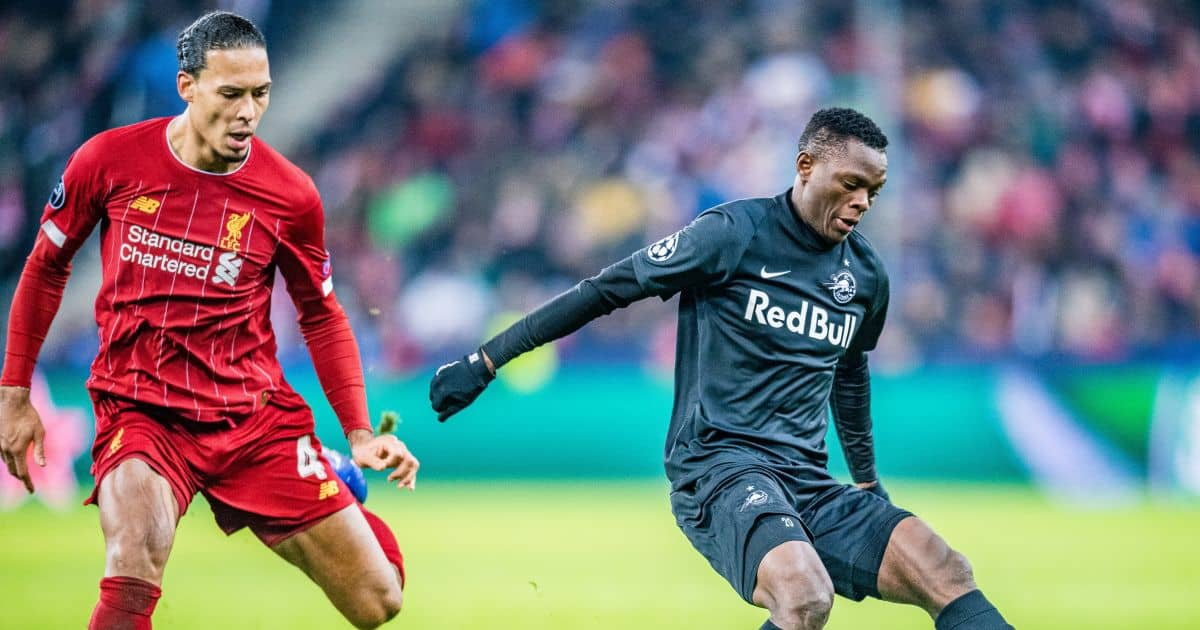 Patson Daka, Virgil van Dijk RB Salzburg v Liverpool December 2019