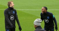 Harry Kane and Raheem Sterling laughing on England duty