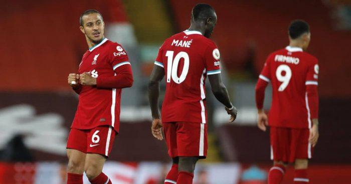 Thiago Alcantara, Sadio Mane, Roberto Firmino Liverpool v Southampton May 2021