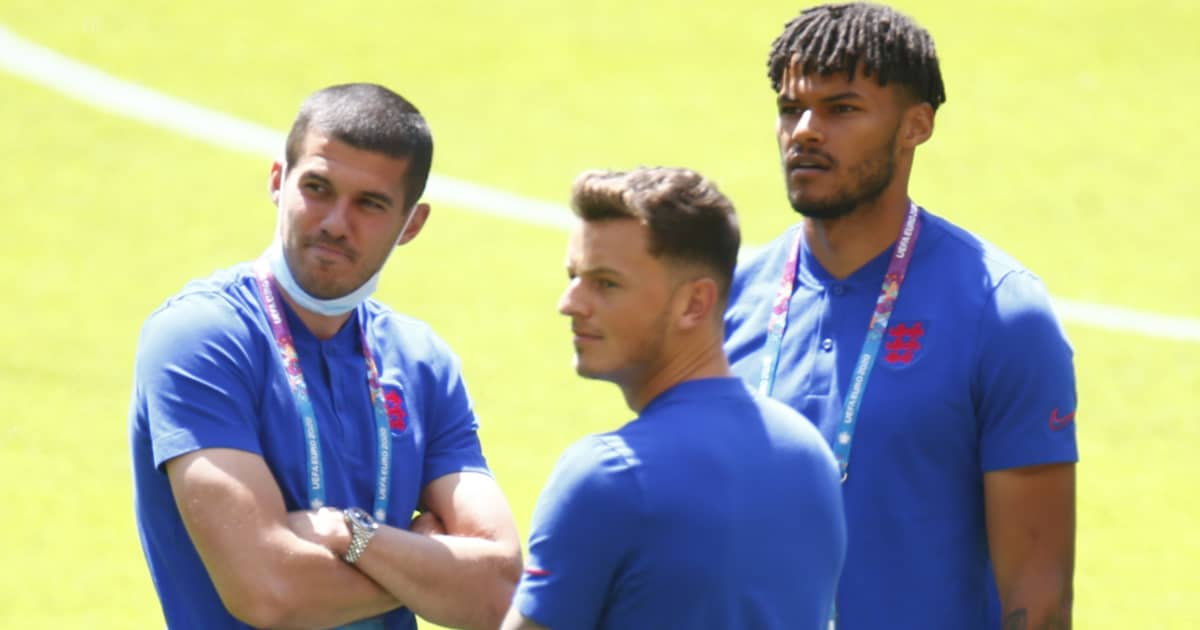 Conor Coady, Ben White, Tyrone Mings looking on in England training, June 2021