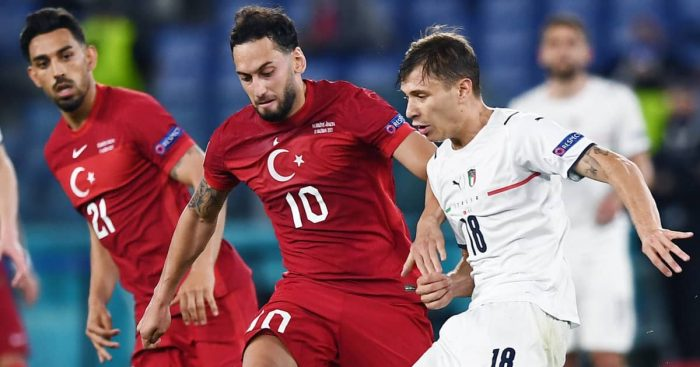 Hakan Calhanoglu tussling with Nicolo Barella, Turkey v Italy, Euro 2020, June 2021