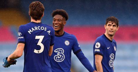 Marcos Alonso, Callum Hudson-Odoi and Christian Pulisic goal celebration, Chelsea, May 2021