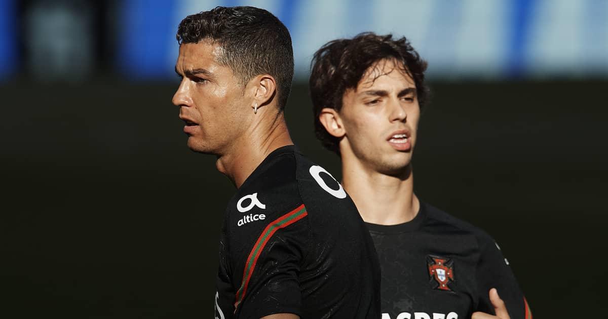 Cristiano Ronaldo and Joao Felix in Portugal training, June 2021