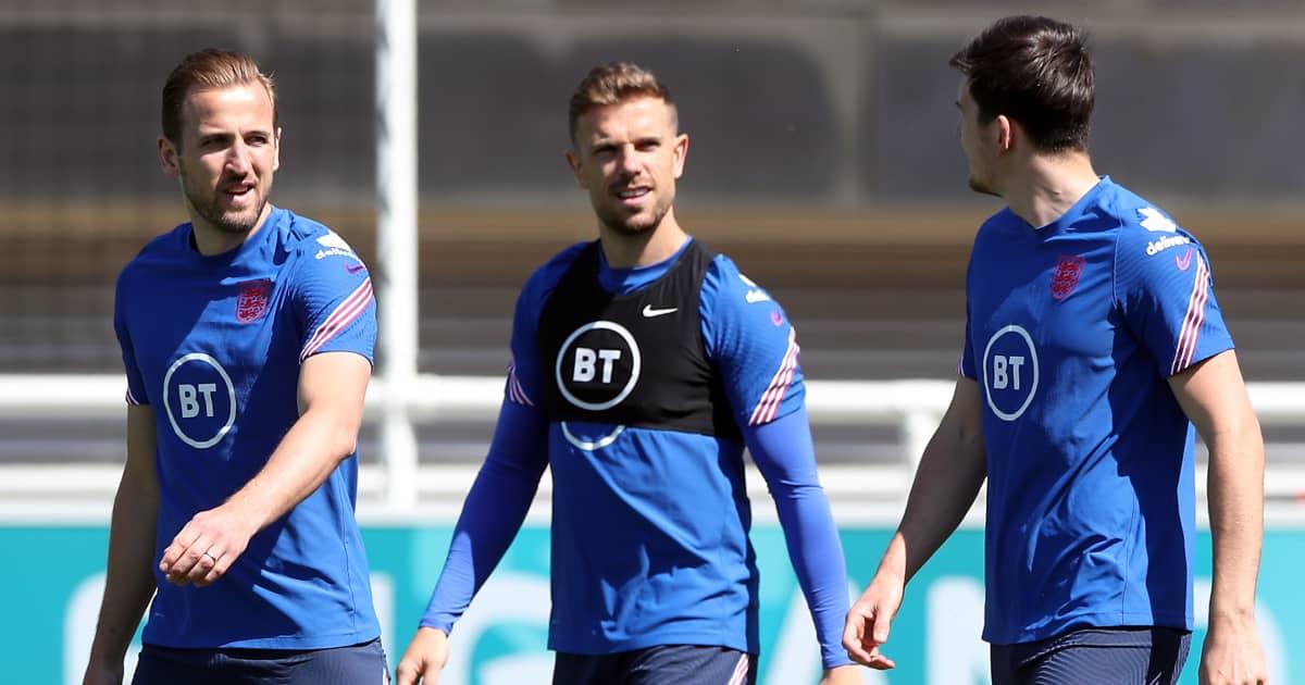 Harry Kane, Jordan Henderson and Harry Maguire in England training, June 2021