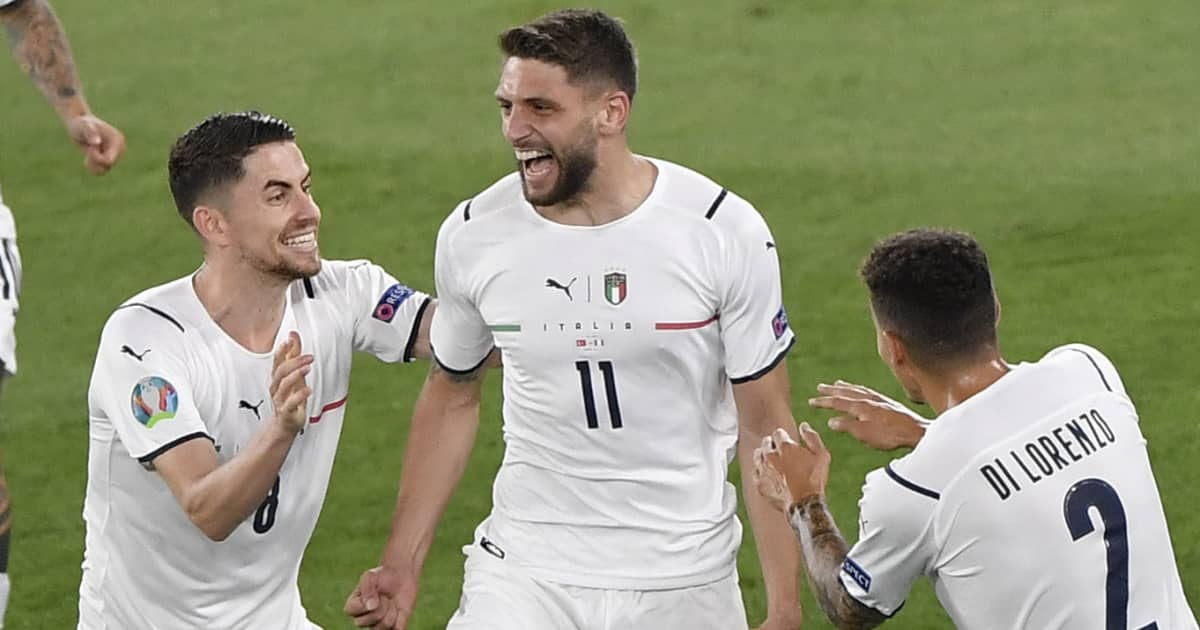 Domenico Berardi celebrating Italy goal v Turkey, Euro 2020