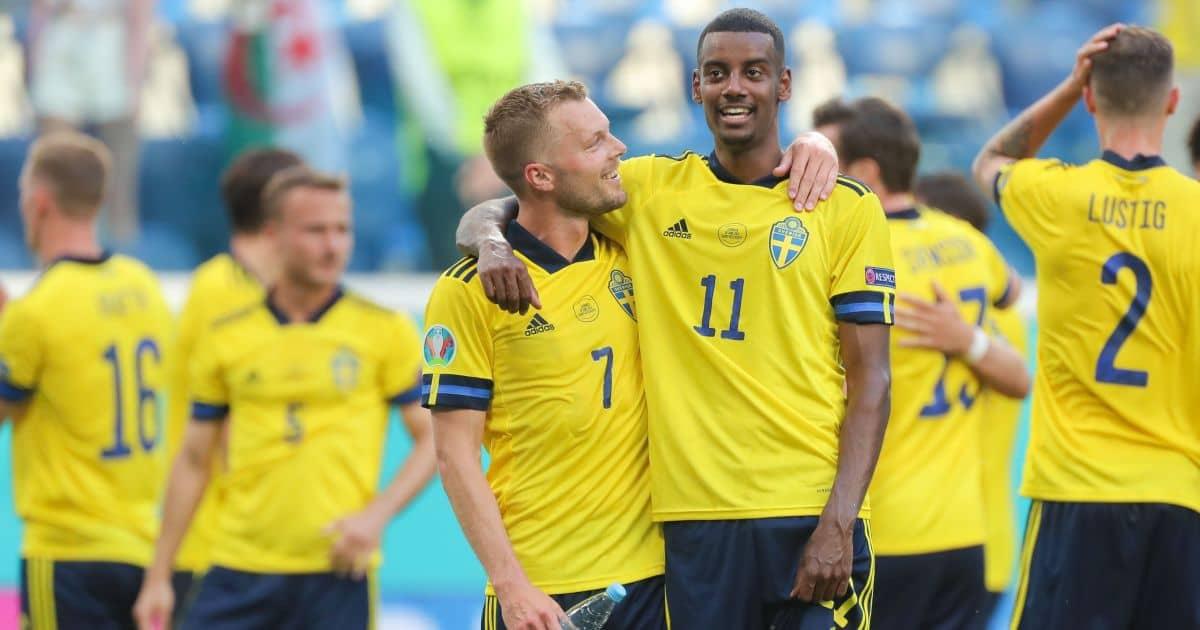 Sebastian Larsson, Alexander Isak Sweden v Slovakia Euro 2020