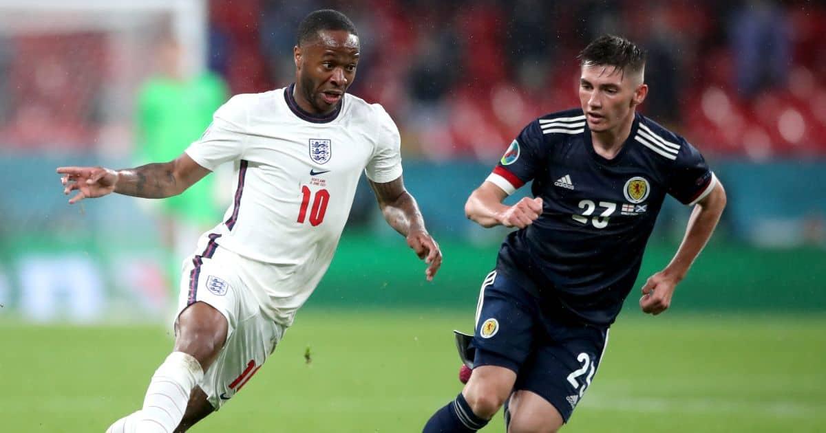 Raheem Sterling, Kieran Tierney England v Scotland Euro 2020