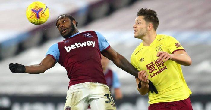 Michail Antonio; James Tarkowski West Ham v Burnley TEAMtalk