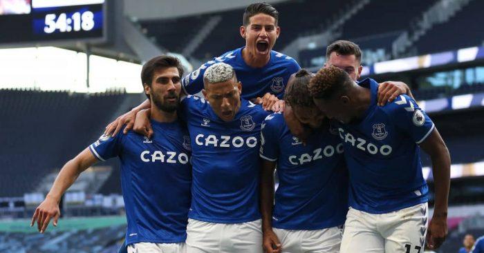 Andre Gomes, Richarlison, James Rodriguez, Dominic Calvert-Lewin, Seamus Coleman, Yerry Mina, Everton celebrate goal v Tottenham, 13/09/2020, TEAMtalk