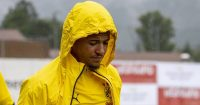Jadon Sancho, Borussia Dortmund jacket hood up