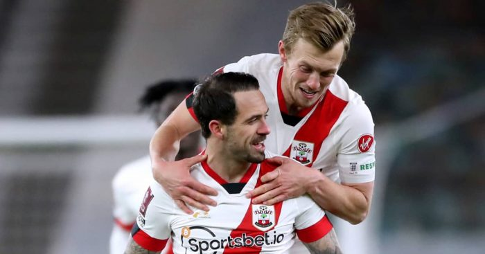 Danny Ings celebrating with James Ward-Prowse, Southampton, February 2021