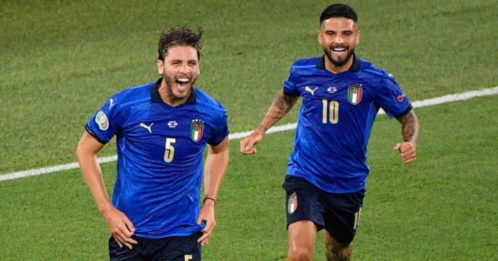 Manuel Locatelli celebrating with Lorenzo Insigne, Italy, Euro 2020, June 2021