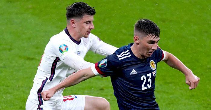 Mason Mount battling Billy Gilmour, England v Scotland, Euro 2020, June 2021