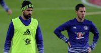 Diego Costa and Eden Hazard in Chelsea training, 2016