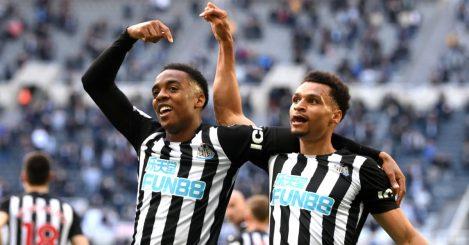Joe Willock celebrating with Newcastle teammate Jacob Murphy, May 2021