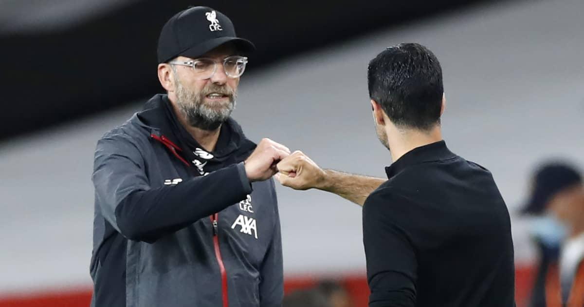 Jurgen Klopp fist bumping Mikel Arteta, Liverpool v Arsenal, 2020